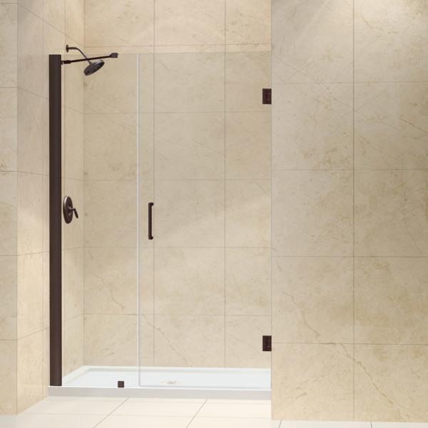 Clear Glass Hinged Shower Door : Unidoor to quot frameless hinged shower door clear