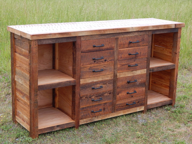 Rusted Nail Drawer/Shelf Cabinet - Rustic - Filing ...
