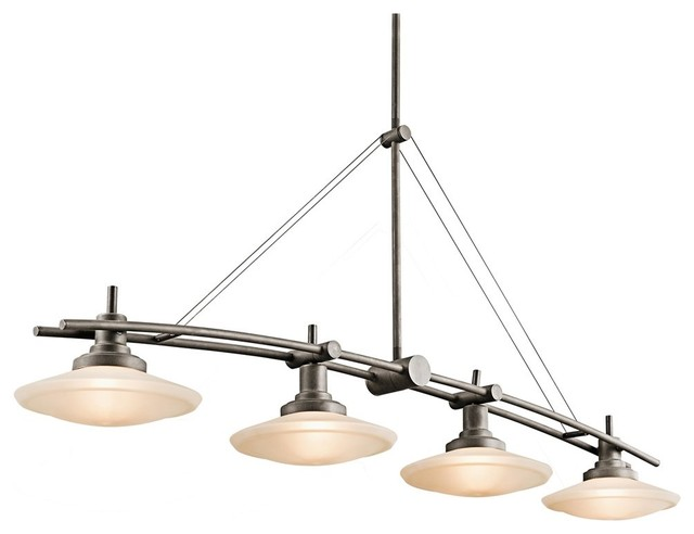 Kichler structures kitchen island billiard light x for 4 lamp billiard light