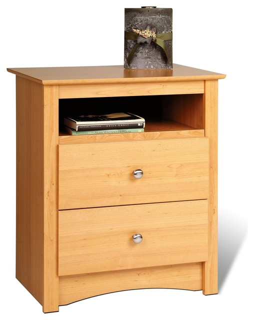 Prepac sonoma 2 drawer tall nightstand with open cubbie in for Modern bedside tables nightstands