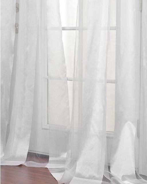 White Striped 96 Inch Sheer Curtain Panel Modern Curtains