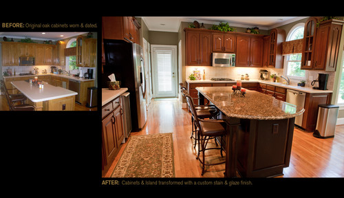 We are thinking about restaining our oak cabinets. Did you do them yourself or did someone do them?
