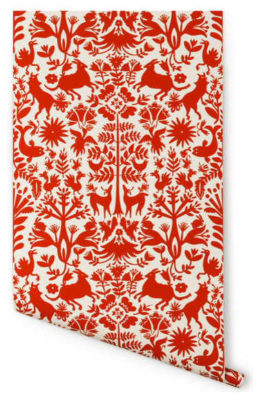 otomi wallpaper almost white red eclectic wallpaper by hygge west. Black Bedroom Furniture Sets. Home Design Ideas