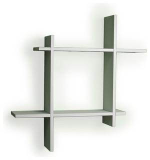 Asymmetric Laminate Square Floating Wall Shelf , White ...