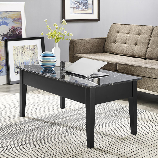Black Faux Marble Lift Top Coffee Table Contemporary