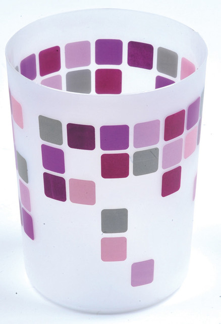 Printed bath trash can waste bin mosaic purple 4 5 liter 1 for Purple bathroom bin