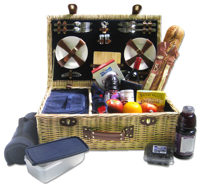 Picnic Basket Kit : Picnic pack willow basket for persons corduroy