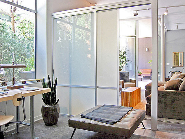 Sliding glass room dividers office partitions modern for Office dividers modern