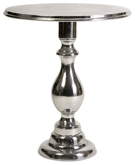 Round Coffee Table Chrome Finish: Dorset Antique Silver Chrome Round Side Table Aluminum