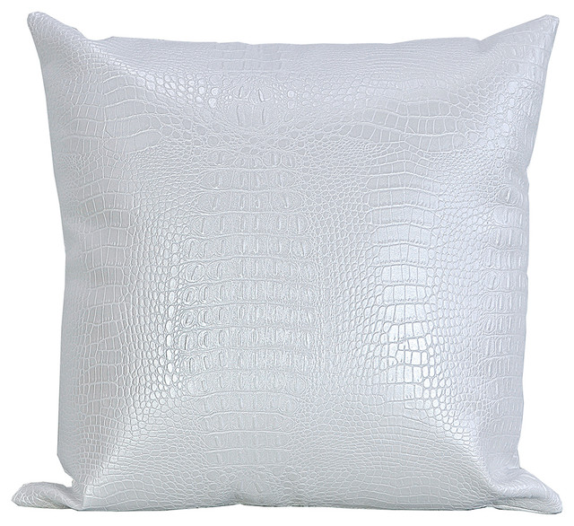 Croc Print Faux Leather Throw Pillow, White, 20