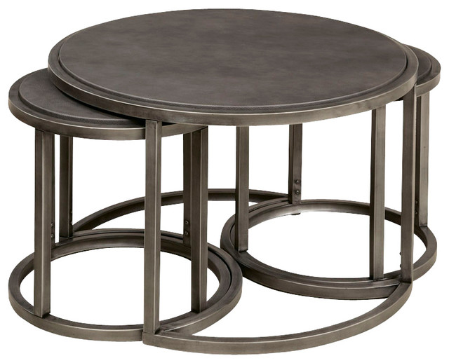 Hammary rotation round cocktail nesting table with metal base traditional side tables end Traditional coffee tables and end tables