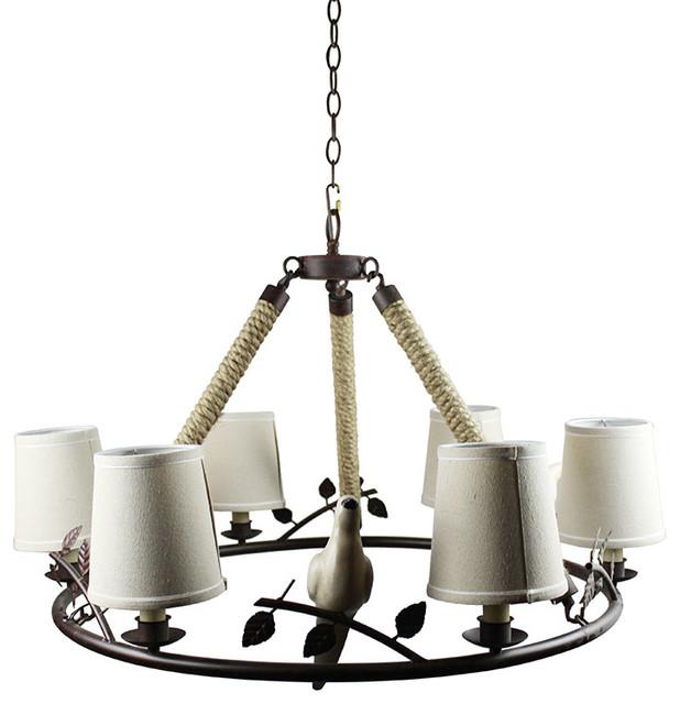 6 Lights Fabric Shade Pendant Light With Bird Shape Ornaments Industrial