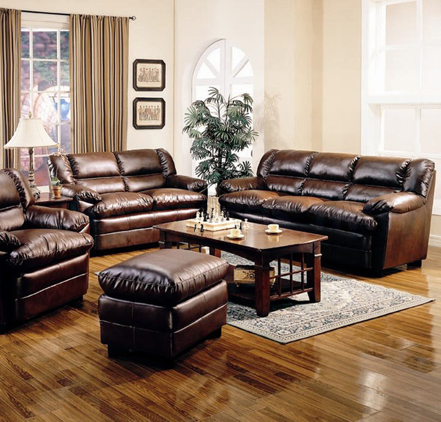 Traditional Living Room Leather Furniture: Harper Overstuffed Leather 2 PC Living Room Set (Sofa And