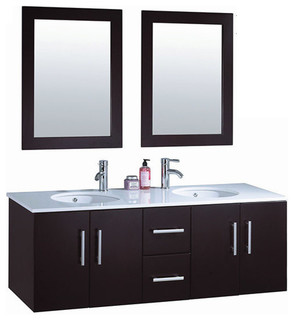 "Nepal Vanity, Espresso, 59.1"", Brushed Nickel Faucet - Contemporary ..."