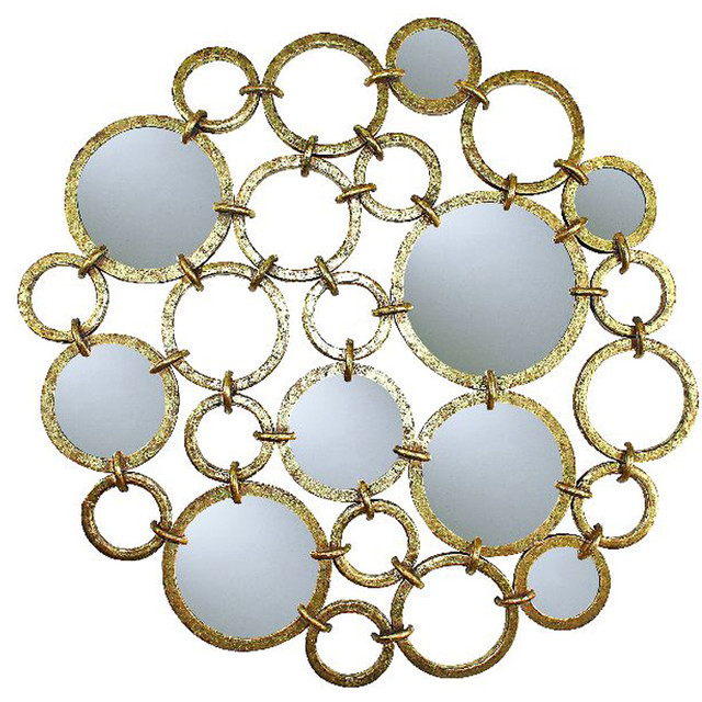 Circle Design Wall Du00e9cor with Mirror Accents traditional-wall-mirrors