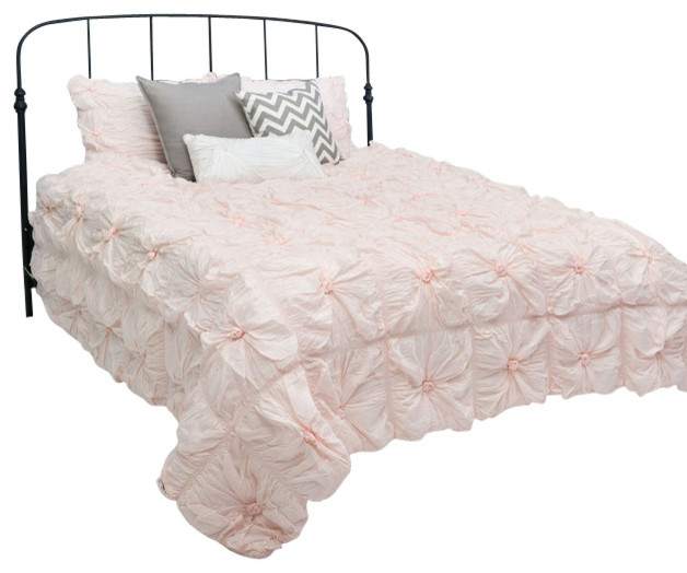 rizzy home 3 piece full queen comforter bed set light pink contemporary comforters and. Black Bedroom Furniture Sets. Home Design Ideas
