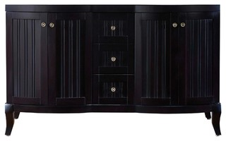 Khaleesi 60 Double Bathroom Vanity Cabinet In Espresso Transitional