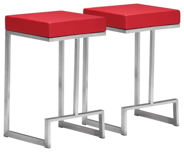 Set Of 2 Zuo Modern Darwen Red 24 Quot High Counter Stool