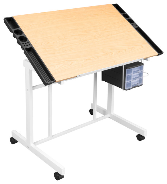 Deluxe Craft Station White And Maple Modern Drafting