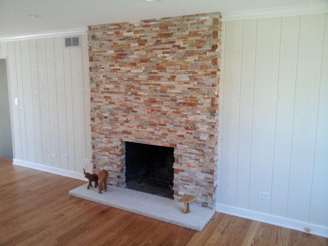 Old brick fireplace re facing traditional chicago by - How to reface a brick fireplace ...