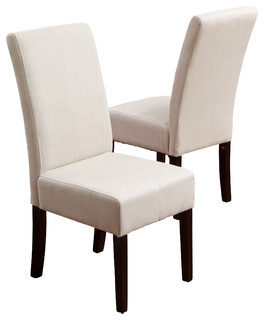 Emilia Fabric Dining Chair Set Of 2 Ivory Contemporary Dining Chairs