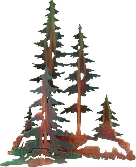 """3D Pine Trees Rustic Metal Wall Art 20"""" - Rustic - Artwork ..."""