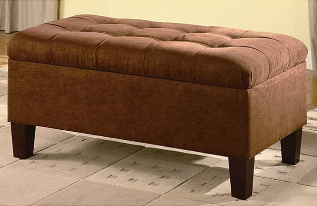 Upholstered Storage Entryway Bench: Chocolate Microfiber Tufted Storage Bench
