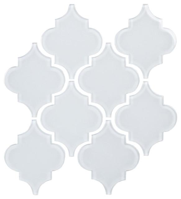glass arabesque tile bright white 11 sheets m diterran en carrelage sol et mur par giorbello. Black Bedroom Furniture Sets. Home Design Ideas