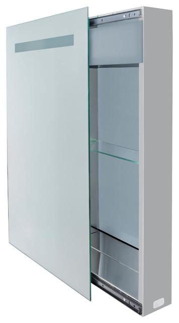 """LED-Light Sliding Mirror Medicine Cabinet, 18""""x30"""" - Modern - Medicine Cabinets - by Krugg ..."""
