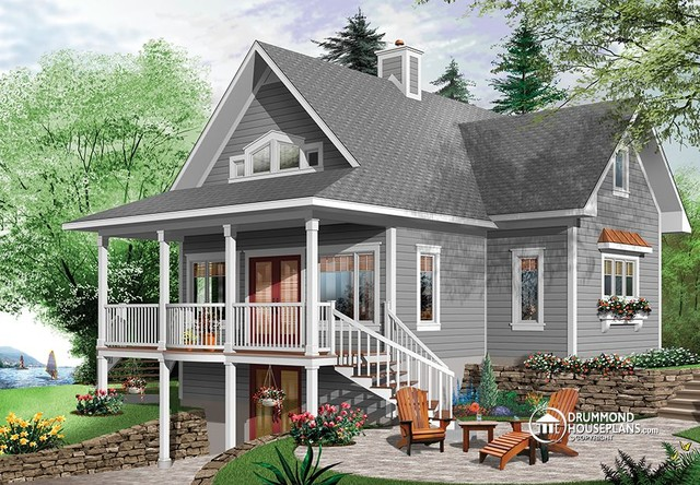 Beautiful lake cottage design 2939 v1 by drummond house for House plans maine