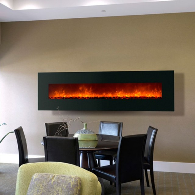 Dynasty Electric Fireplace Wall Mount With Black Glass Frame Bg 240 Contemporary Indoor