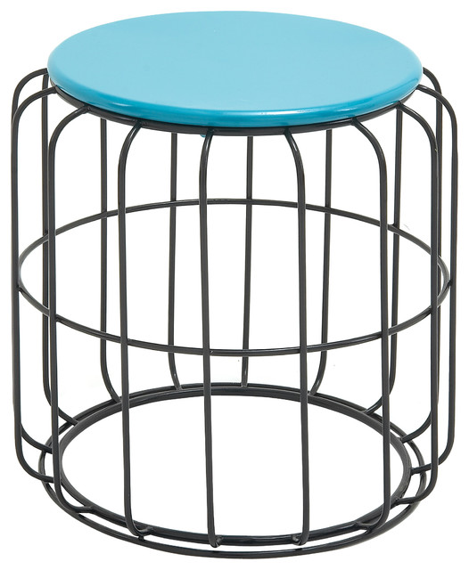 classy metal accent table in blue and black color contemporary outdoor side tables by gwg. Black Bedroom Furniture Sets. Home Design Ideas