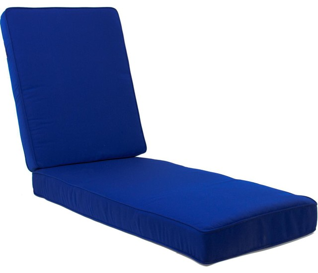 Extra long replacement chaise lounge cushion with piping for Blue chaise lounge cushions