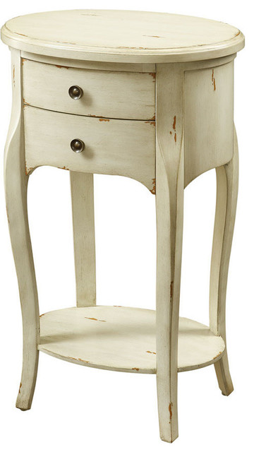 Monarch Specialties Antique White Veneer 29 H Accent Table With 2 Drawers Transitional Side