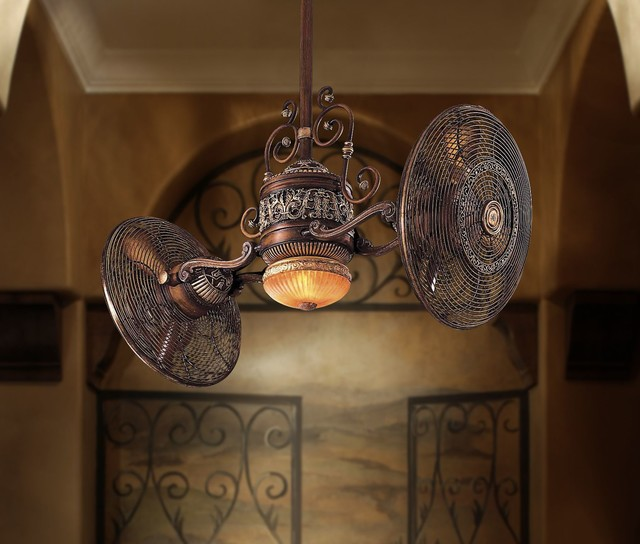 Traditional Gyro Twin Turbo Ceiling Fan Belcaro Walnut