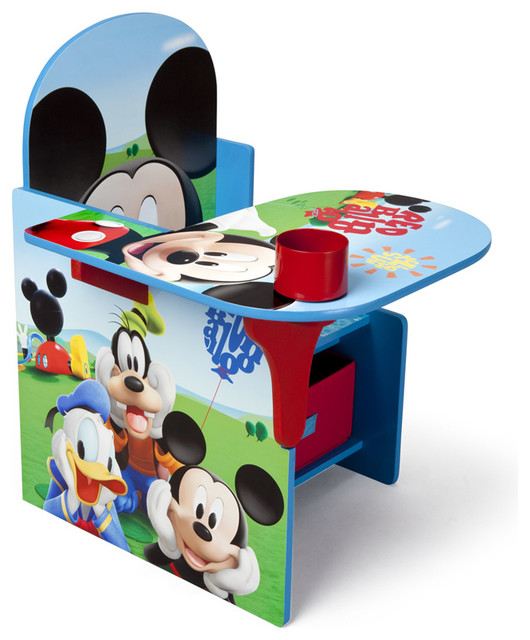 children kids blue red mickey mouse storage bin cup holder play chair desk contemporain. Black Bedroom Furniture Sets. Home Design Ideas