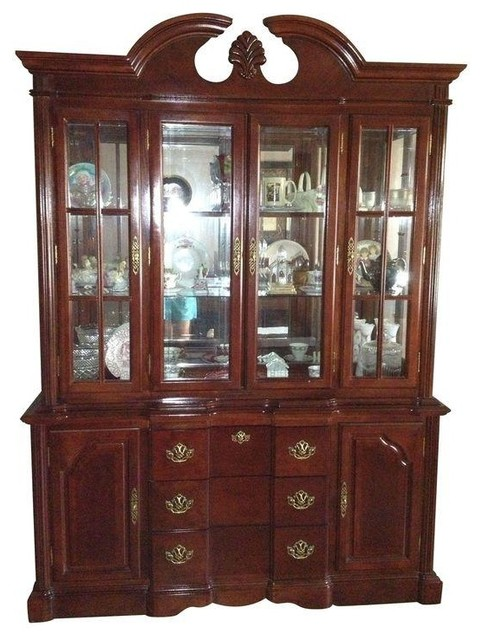 Dark Cherry Wood China Cabinet - Traditional - China Cabinets And Hutches - by Chairish