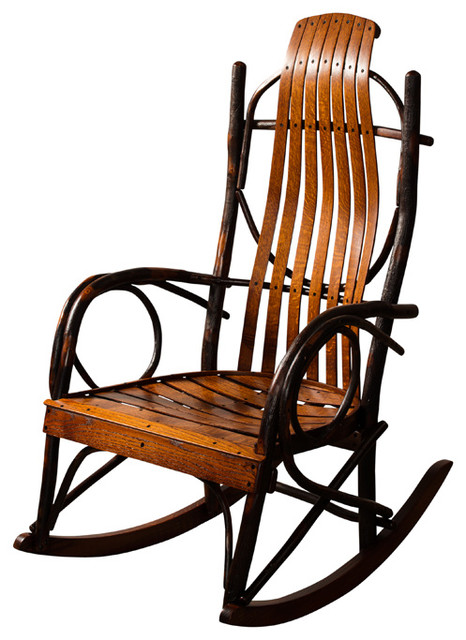 amish made hickory rocker rustic living room chairs