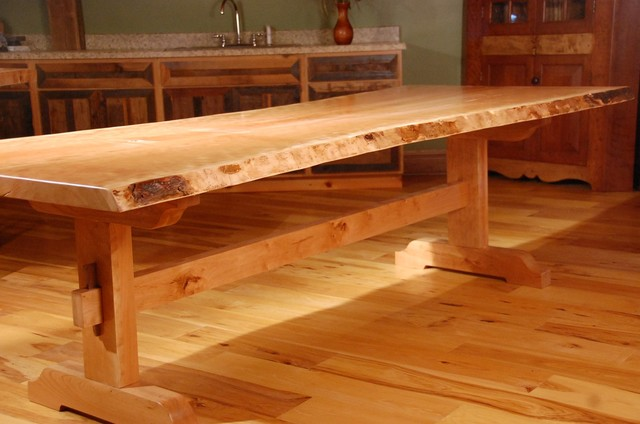 Live Edge Dining Tables With Trestle Base Rustic Dining Tables Other Metro By Corey