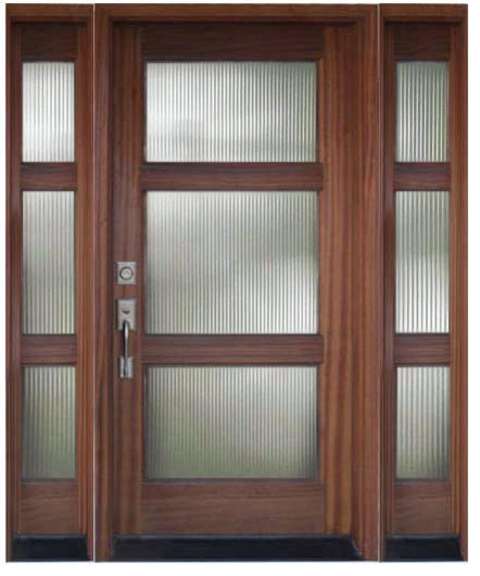 Wood and glass entry door with sidelights modern front for Entry doors with sidelights