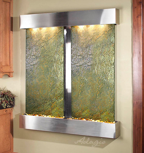 slate wall mounted water features the cottonwood falls with green slate contemporary. Black Bedroom Furniture Sets. Home Design Ideas