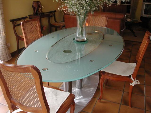 Table haute en verre ovale atelier in vitro - Table haute en verre ...