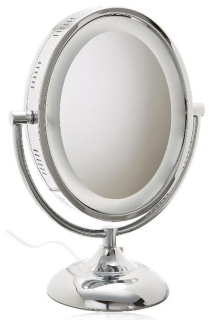 Jerdon hl958c 8 inch tabletop two sided swivel oval halo for Oval swivel bathroom mirror
