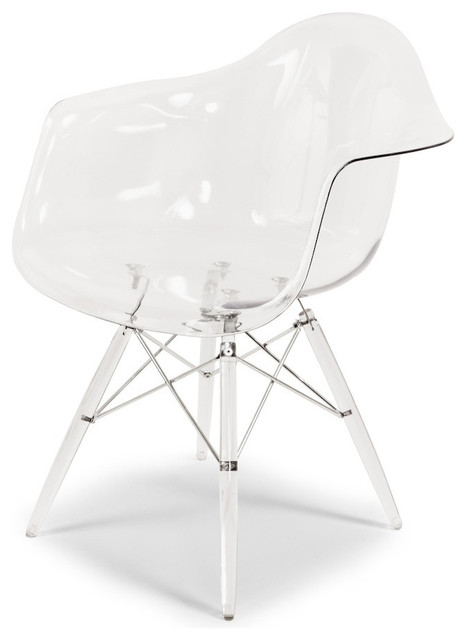 Mid Century Molded Plastic Dining Chair Clear