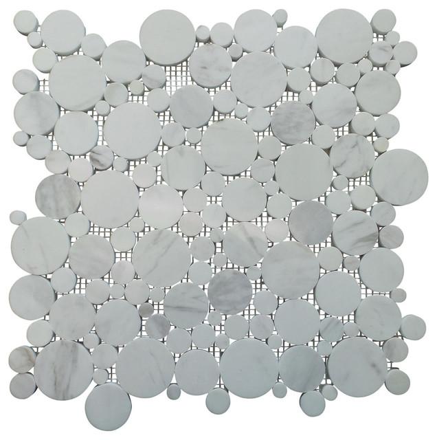 Bianco Carrara White Polished Bubble Circle Mosaic Tile
