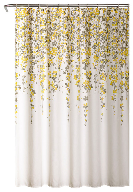 Lush Decor Weeping Flower Shower Curtain Yellow Gray 72 X72