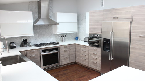 contemporary kitchen with using Sofielund IKEA kitchen cabinets ...