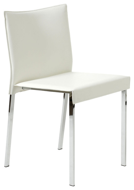 Riley side chair white leather and chrome set of 2 for White leather and chrome dining chairs