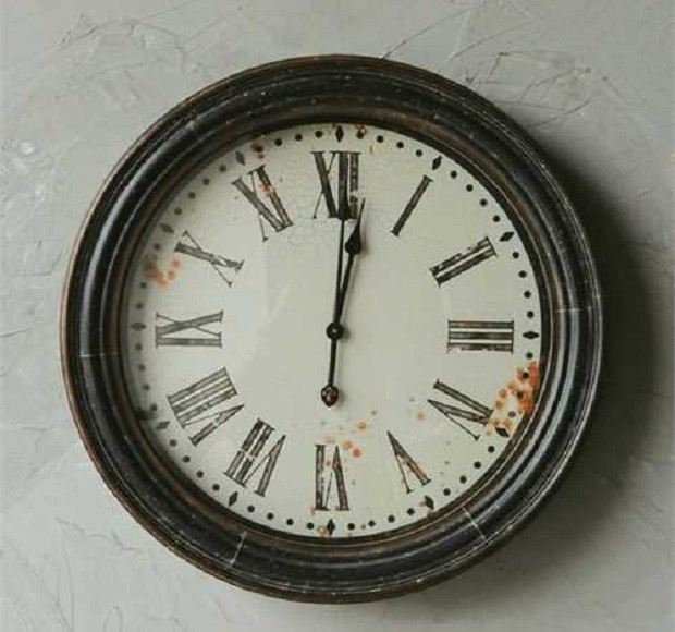 Large Distressed Round Wall Clock