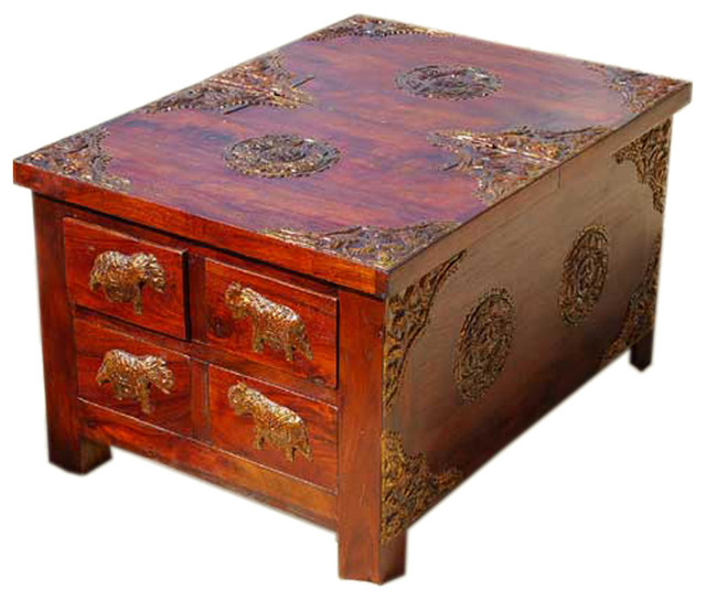 rustic wood 4 storage drawers brass accent coffee table. Black Bedroom Furniture Sets. Home Design Ideas